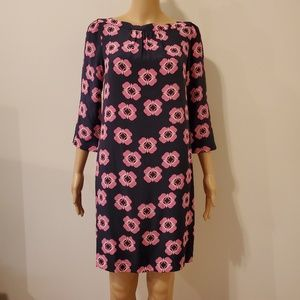 Fossil Silk Shift Navy Dress/ Pink Retro Flowers